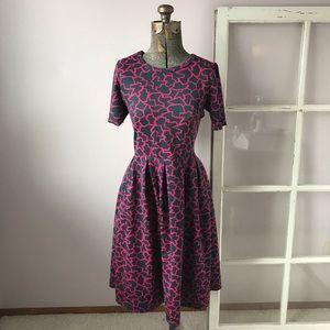 LuLaRoe Pink & Gray Geometric Amelia Dress